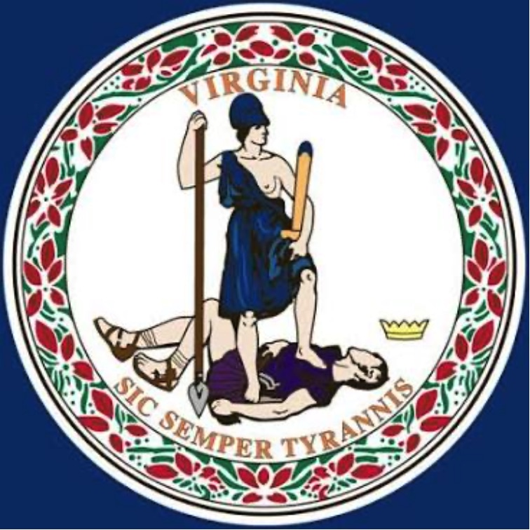 Virginia Seal depicting Justice standing on the neck of a defeated tyrant, along with the text Virginia above, and Sic Semper Tyrannis below.